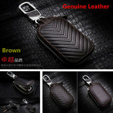 Universal Genuine Leather Car SUV Key Holder Men &Women Key Purse Key Case Brown