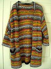 BOHO, TRIBAL, BULKY-KNIT SWEATER-COAT OF MANY COLORS (UNBRANDED) - LARGE