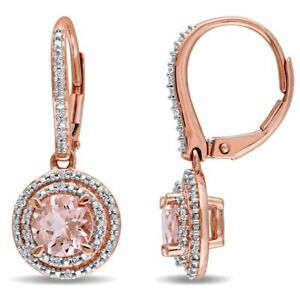 Cushion Cut Morganite Created Halo Earrings 14K Rose Gold Plated