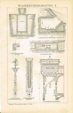 Tafel WASSERTURM / BRUNNEN / ZISTERNE / WASSERVERSORGUNG 1895 Original-Holzstich