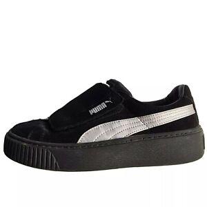 Puma Women's Black Silver Platform Strap Suede Trainers Sneakers Size 6