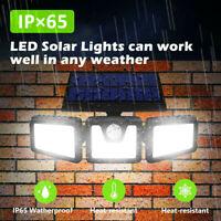 Wireless 74LED Solar Security Light 3Head Motion Sensor Lights FloodLightOutdoor