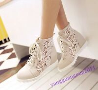 Womens Lace Up Mesh Wedge Hidden Heel High Top Fashion Sneakers Shoes Breathable