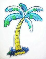 """Palm Trees Patch Beach Summer Blue Embroidered Iron On Applique 2.25"""" X 3.00"""""""