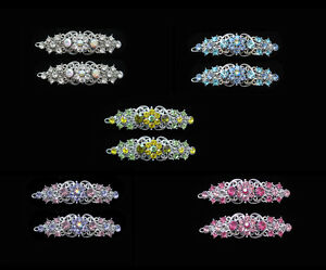 SMALL FLOWER HAIR BARRETTE CLIP CRYSTAL ANTIQUE SILVER TONE PAIR PINK CLEAR