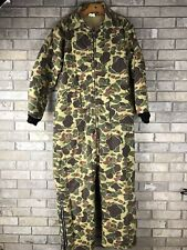 Vintage Duck Camo Coveralls Winter Puff Padded Hunting Mens Large Camouflage Vtg