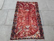Old Traditional Hand Made Persian Rug Oriental Wool Red Small Rug 142x91cm