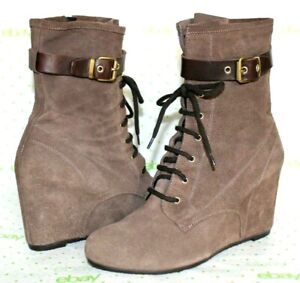 """❤️ANDRE ASSOUS Lace-Up Taupe Suede 3.5"""" Wedge Booties 11 m 41 EXCELLENT! L@@K!03"""