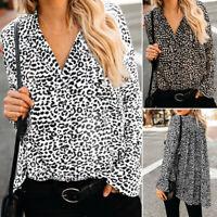 Vintage Femme Imprimé léopard Col V Manche évasée Longue Loisir Haut Shirt Tops