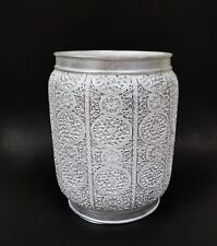 Raymond Waites White Silver Carved Resin Vintage Style Trash Can Waste Basket