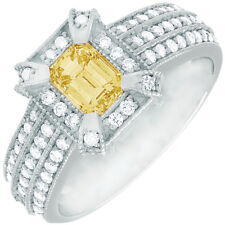Fancy Yellow GIA Certified 2.57 CTW Emerald Cut Diamond Engagement Ring 18k Gold