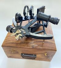 """Nautical 9"""" Working Navigational Solid Aluminum Sextant With Wooden Box"""