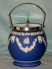 OLD DEEP BLUE WEDGWOOD BISCUIT BARREL WITH SWAGS & LION MASKS FULL BACK STAMP