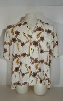 100% Silk Hawaiian Shirt  Silk of Paradise Floral And Wind Surf Grafic size XL