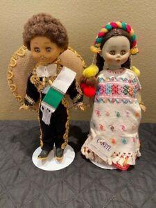 "Lot 2 Conetl Boy Girl Mexican 13"" Dolls Traditional Dress Guadalajara Sleep Eyes"