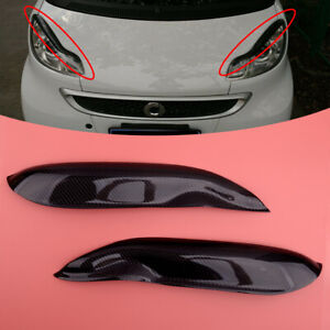 Carbon Fiber Headlight Eyebrows Cover Trim fit for Smart Fortwo W451 2007-2014