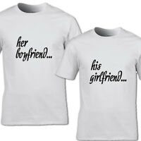 HER BOYFRIEND AND HIS GIRLFRIEND T-SHIRT LOVE PARTNER GIFT COUPLES HIS HERS