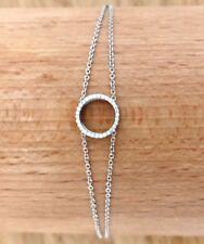 NATURAL DIAMOND CHAIN BRACELET TCW 0.15 WHITE GOLD 18k circle women bridal girl