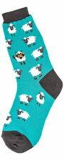 Foot Traffic Cotton Blend Blue Wolf In Sheep's Clothing Women's Crew Socks New