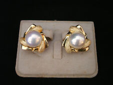 VINTAGE MABE PEARL W/ 14K YELLOW GOLD OMEGA BACK EARRING