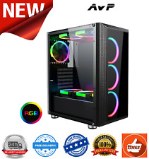 AvP Arion Mid Tower Gaming Case Tempered Glass Front & Side 3 x RGB 120mm Fans