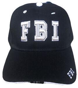 FBI Hat Baseball Cap Adjustable Embroidered Black Hat Headwear