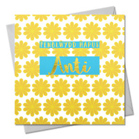 Welsh Birthday Card, Penblwydd Hapus Anti, Auntie, text foiled in shiny gold
