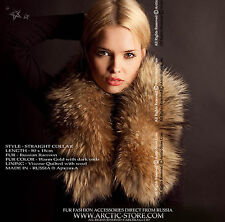 Classic fur collar for women - Russian raccoon, quilted lining / Made in Russia