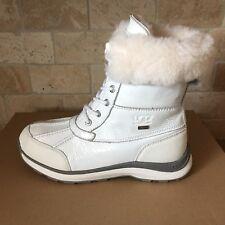 UGG Adirondack Patent White Waterproof Leather Short Snow Boots Size 8 Womens