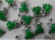 Wholesale  beautiful green jade frog necklace pendant+Free Chain 10PC