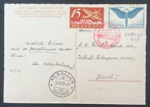 1929 SWITZERLAND ZEPPELIN POST FLIGHT WITH GRAF ZEPPELIN LZ 127