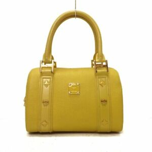 Auth MCM Yellow Synthetic Leather Leather Handbag