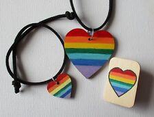 Badge Lgbtqa Pride Necklace Vegan Rainbow Heart Jewellery Set Pendant Bracelet