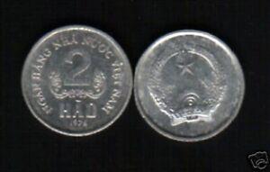 VIETNAM 2 HAO KM-12 1976 NHNNVN x 1 UN COMMON VIETNAMESE COIN MONEY ASEAN ASIA
