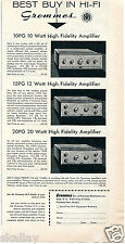 1956 Print Ad of Grommes 10PG 15PG & 20PG High Fidelity Amplifiers