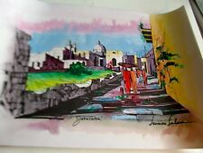Israeli Art Judaica Jerusalem A Walk to the Old City-Watercolor L Lalum 27x191/2