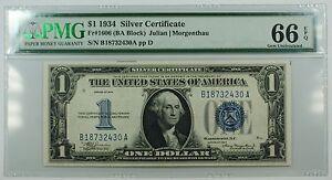1934 One Dollar $1 Silver Certificate FR#1606 (BA Block) PMG GU-66 GEM EPQ WW