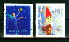 Noël timbres année 2010 excellent état Lot de 2 auto-adhésif ESTONIE