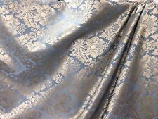 """Upholstery Drapery Fabric In Steel Blue & Gold Full Jac Design 110"""" By The Yard."""