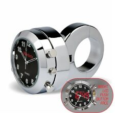 "Marlin's Adj Ring Motorcycle 1 1/4"" Handlebar Clock Push Button Backlit Black"