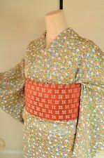 Kimono Silk Komon Women & Silk Nagoya Obi SET/Flowers Japanese vintage /110