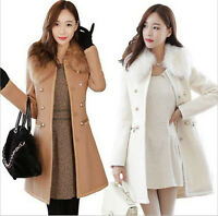 Womens Winter Fur Long Trench Parka Coat Jacket Wool Blend Slim Double-Breasted