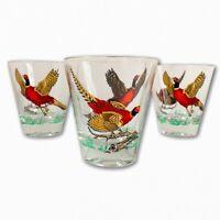 Set 3 Hazel Atlas Pheasant Gold Rim & Wings VTG 50s Bar Cocktail Glasses