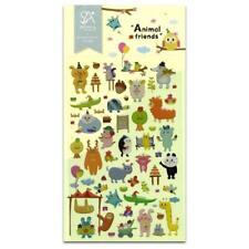 CUTE ANIMAL FRIENDS Cartoon Sloth Rabbit Cow Bear Epoxy Craft Scrapbook Sticker