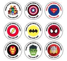 Avengers Marvel 45mm 64mm Circle Rectangle Personalised Birthday Stickers S068