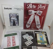 (Group of 5 NIP) Bow Ties, Bookmarks & Tissue Holders Cross Stitch Craft Kits