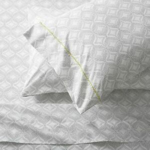 Crate & and Barrel KALEIDOSCOPE QUEEN SHEET SET- NEW- NWOT-Grey/White/Chartreuse