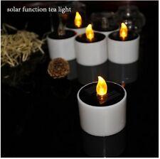 US 6Pcs Solar Power LED Tealight Flickering Flameless Candle Light Party Decor