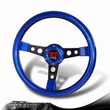 JDM Style 6-Holed 350MM  Blue Wood Grip Steering Wheel w/ Black Spokes CHEVROLET