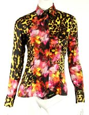 VERSACE Yellow Tortoise & Floral Print Satin Button Front Blouse 38
